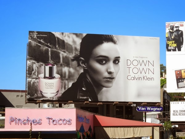 Rooney Mara Calvin Klein Downtown fragrance billboard