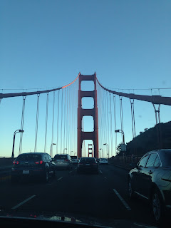 Driving over golden gate bridge in san fran