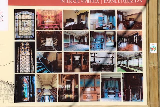 Panel con fotografías del interior del palacete de la Finca Munoa