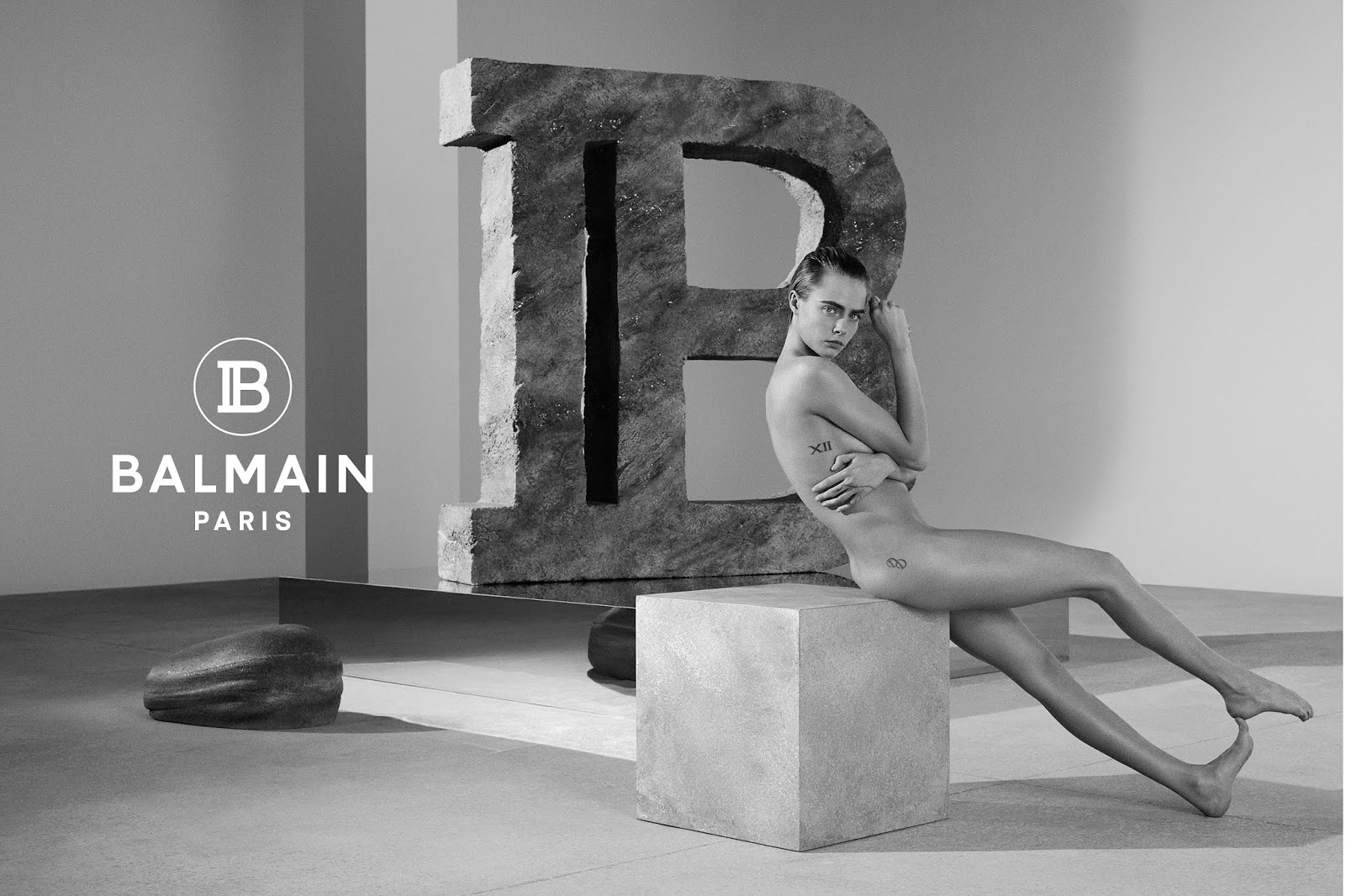 Cara Delevingne - poses nude for the spring 2019 Balmain campaign