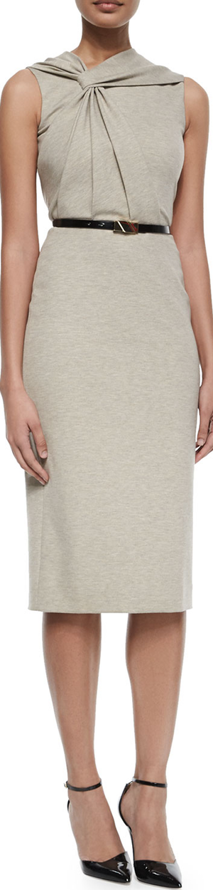 Jason Wu Twist-Front Sleeveless Dress w/Belt Taupe/Chalk