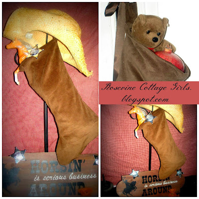 suede like brown fabric with a toy horse and sheriff badge, a teddy bear and cowboy hat | rosevinecottagegirls.com | making stockings for Christmas