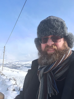 Man in beard on snow