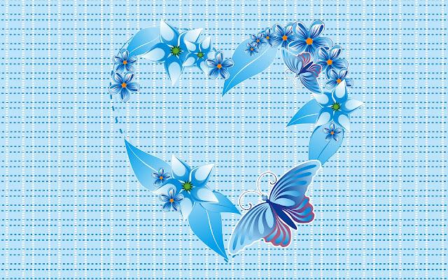 Blauw liefdes hart van bloemen en een vlinder