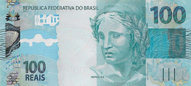 Brazilian Currency 100 Reals banknote 2010 Effigy of the Republic