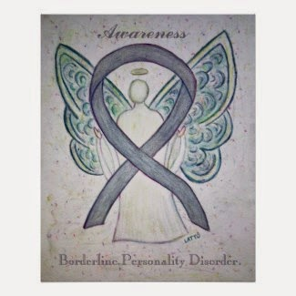 Borderline Personality Disorder (BPD) Awareness Angel Grey Ribbon Poster Print