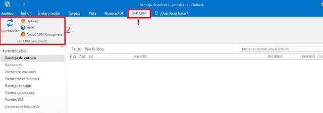 SAP CRM instalado en Microsoft Outlook 2016.