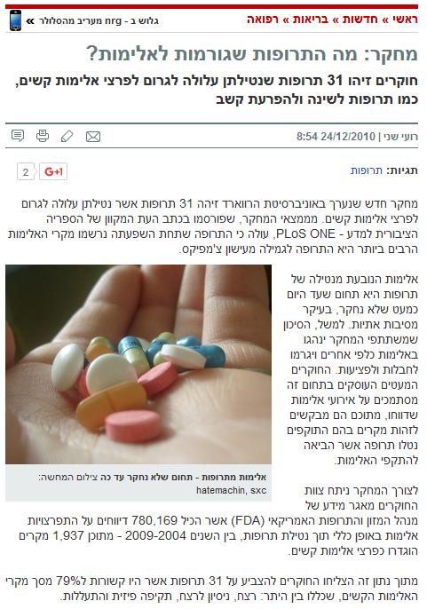 מחקר: מה התרופות שגורמות לאלימות? , רועי שני , ynet , דצבר 2010