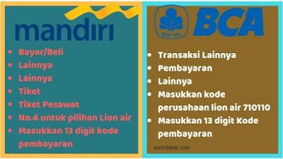 Ilustrasi Bayar Tiket Lion Air di atm Mandiri dan BCA