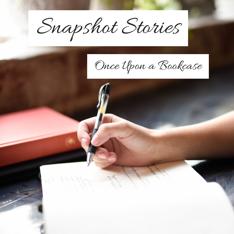 Snapshot Stories header, with a close up photo of a woman writing into a notebook on a dark wooden table, with two other notebooks near by