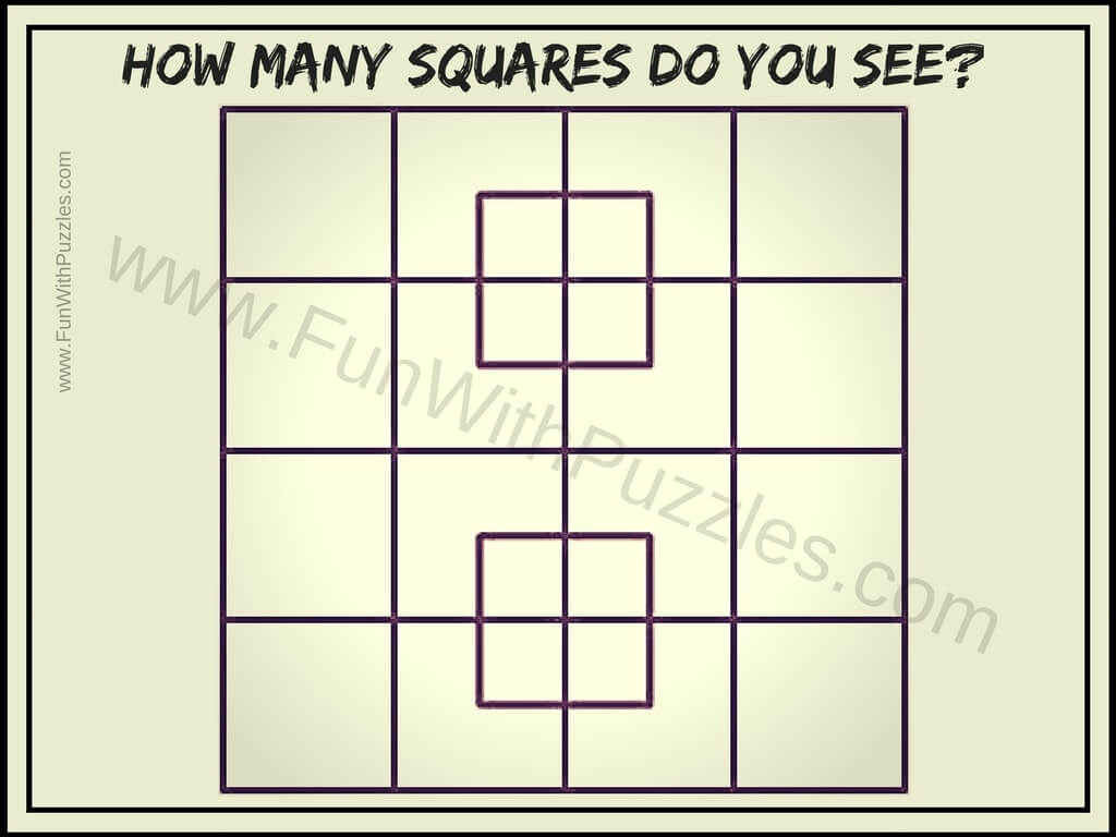 How Many Squares Puzzle With Answer Brain Teasers Puzzles
