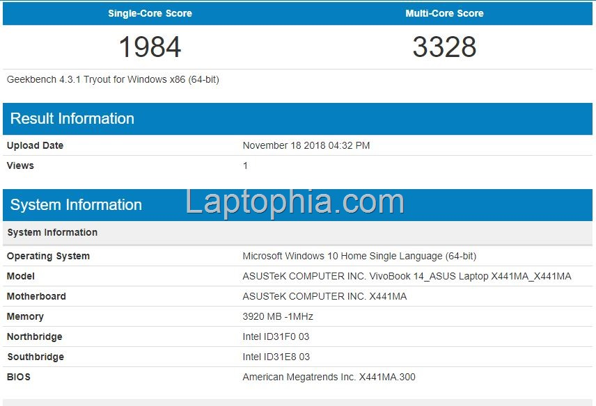 Benchmark Geekbench 4 Asus X441MA