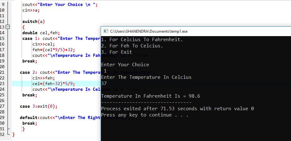 C++ Program For Temperature Celsius To Fahrenheit