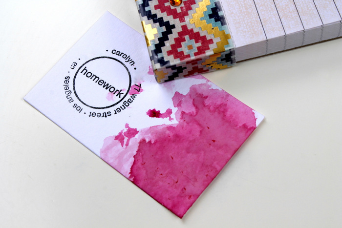 Beet dyed business cards | carolynshomework.com