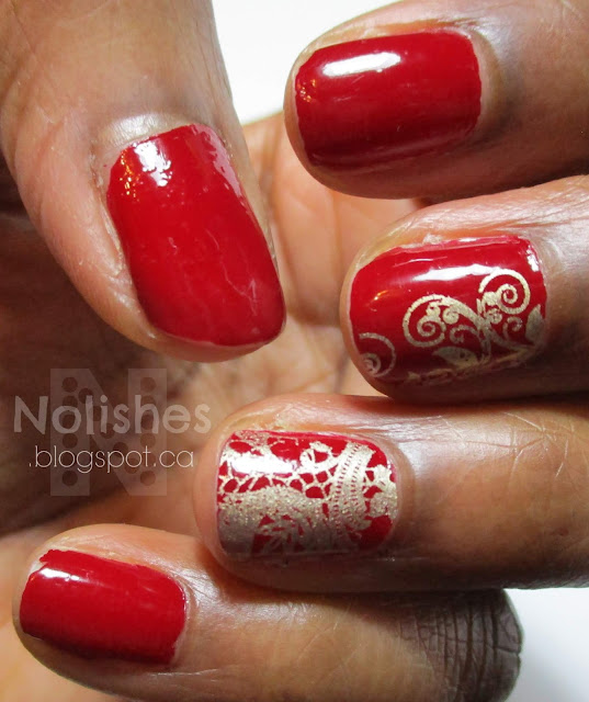 Basic nail stamping manicure using L'Oreal Paris 'Rubis Folies', and Sally Hansen 'Liquid Gold'. A lace image is stamped on the ring finger in gold, while a curly-queue is stamped on the middle finger in gold.