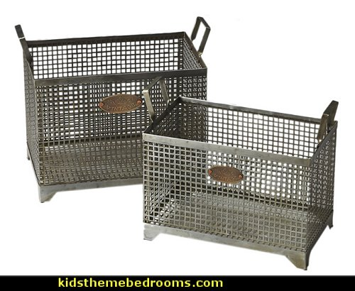 Iron Storage Basket Set  Urban bedroom ideas - urban bedroom decor - urban bedrooms - Urban bedding - city theme bedrooms - New York City bedding - city decor - industrial furniture - city streets bedding - New York cabs - city living urban chic decorating ideas - Urban skater theme - Urban style decorating skateboarding theme - graffiti themed skater park - punk grunge bedrooms - graffiti bedroom decorating
