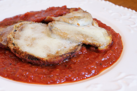Eggplant Parmesan made with eggplant that is baked, not fried!