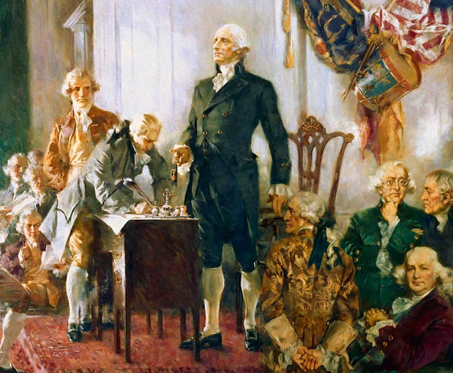 "Howard Chandler Christy - ""Scene at the Signing of the Constitution of the United States"" - Detail Showing George Washington"