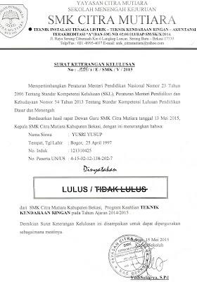 contoh surat keterangan kelulusan
