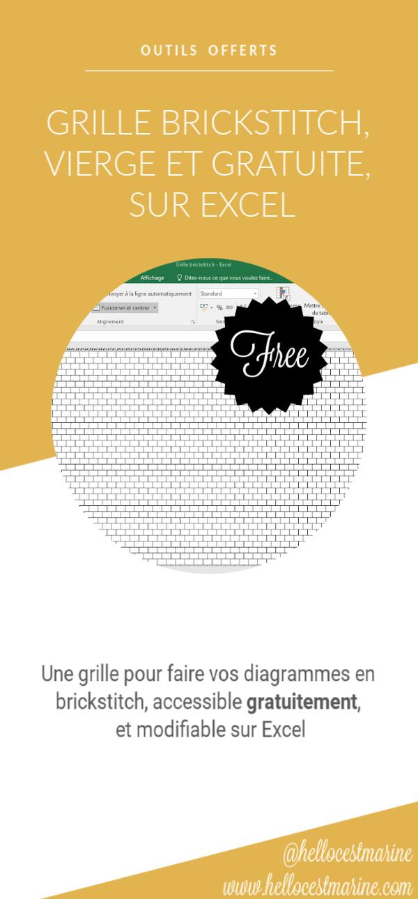 grille gratuite sur excel pour tissage brickstitch en perles miyuki delicas 11/0 pinterest
