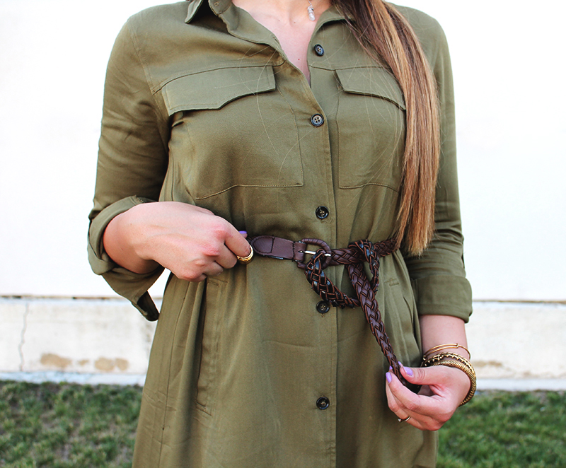 braided brown belt, belted dress, how to dress a pear shaped body