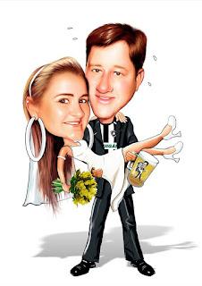 arte caricatura de noivos
