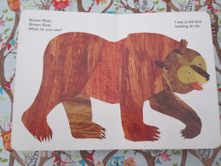Inside the book, showing brown bear