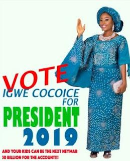 BBNaija's Coco Ice declares interest in 2019's Presidency