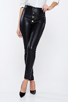 Pantaloni PrettyGirl negri casual conici cu talie inalta din piele ecologica • PrettyGirl