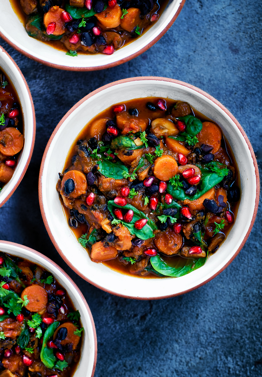 This vegan winter chili makes good use of seasonal vegetables like carrots, pumpkin, and mushroom for a tasty and filling stew. Nothing fancy, just stick to your ribs cold weather food.