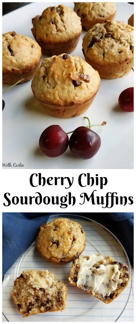 These cherry chip muffins taste like a treat, but are really pretty good for you. They are a great way to use up some of that sourdough starter too!