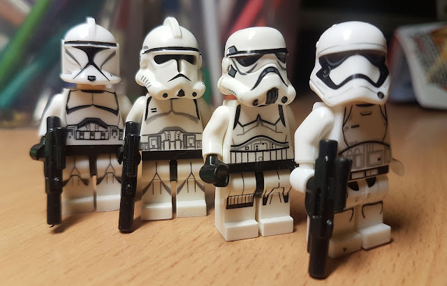 Republic clone trooper 1phase, Republic clone trooper 2phase, Imperial stormtrooper, First Order stormtrooper