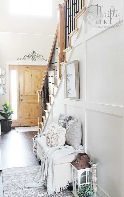 Farmhouse style house tour. House tour full of before and afters. How to transform a builder grade house. DIY farmhouse decor and decorating ideas. DIY cottage decor and decorating ideas. DIY farmhouse entryway decor. 2 story entry way ideas. Entryway inspiration