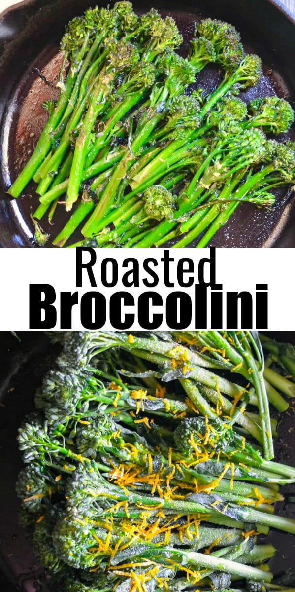 Broccolini recipe roasted in the oven with garlic and lemon is delicious and so easy to make! A family favorite side dish recipe from Serena Bakes Simply From Scratch.