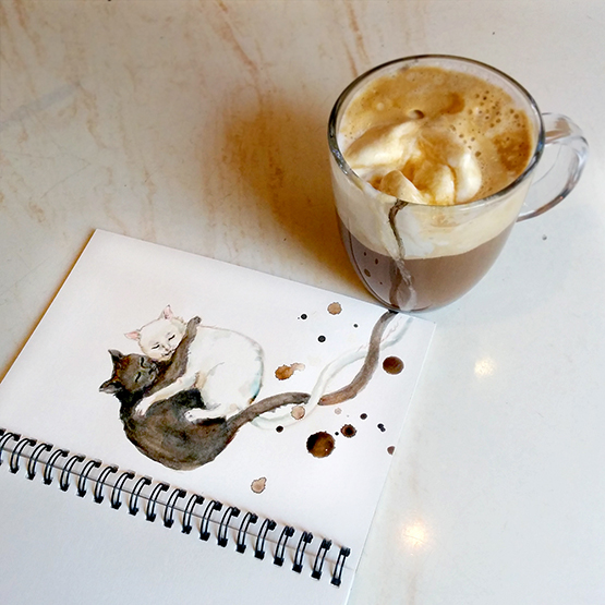 08-Coffee-With-Ice-Cream-Elena-Efremova-Coffee-Cats-Watercolor-Paintings-www-designstack-co