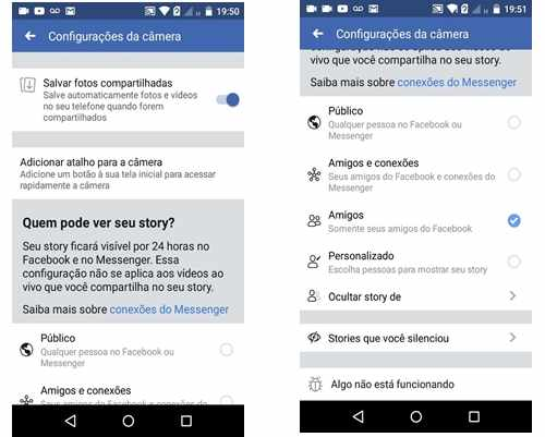Facebook: Configurações do Stories no grupo.