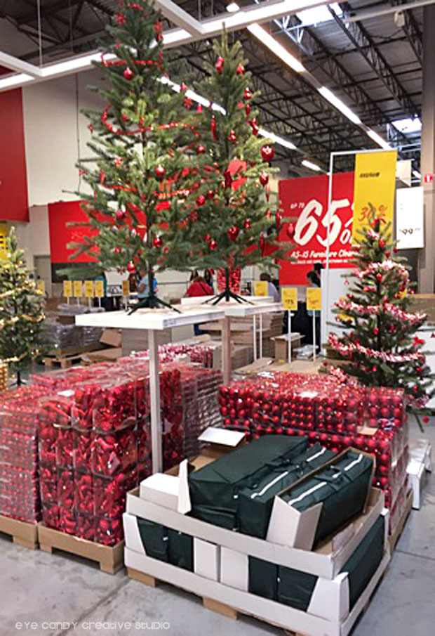 christmas trees, christmas ornaments, decorated tree at IKEA