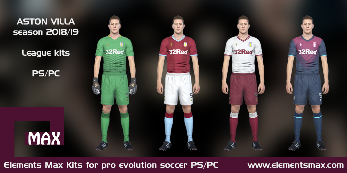 best sneakers 4ec19 9246d Elements MAX Kits: Aston Villa PES Kits 2018/19