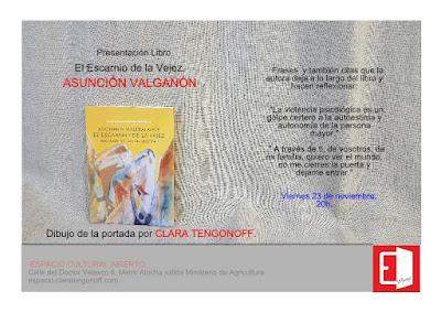 Invitación presentación El Escarnio de la Vejez de Asunción Valgañón.