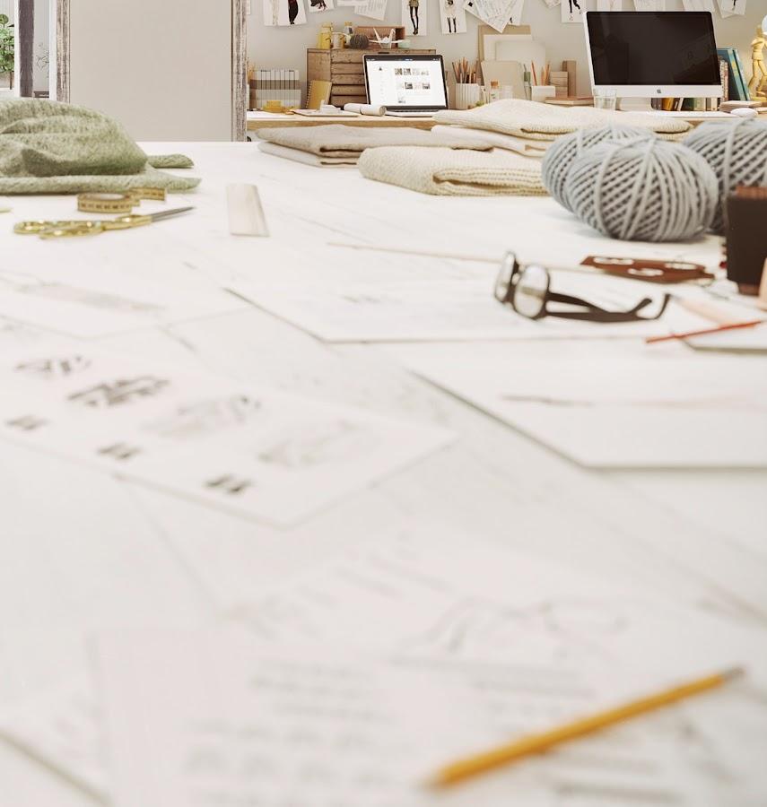 taller, costura, tijeras, apple, espacio de trabajo, trabajo en casa, mesa madera, estilo nordico, interiorismo, barcelona, alquimia deco,