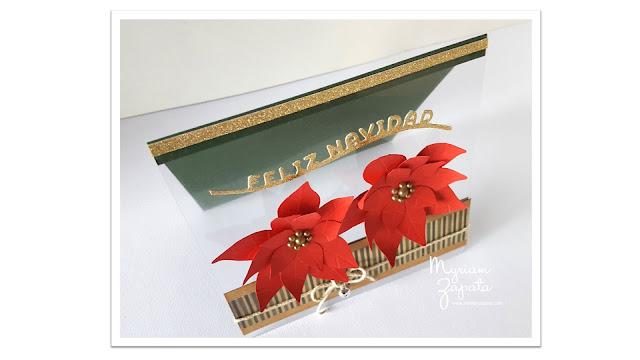 tarjeta de navidad poinsettias