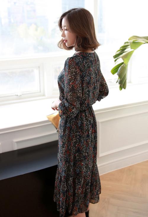 Floral Elastic Waist Midi Dress