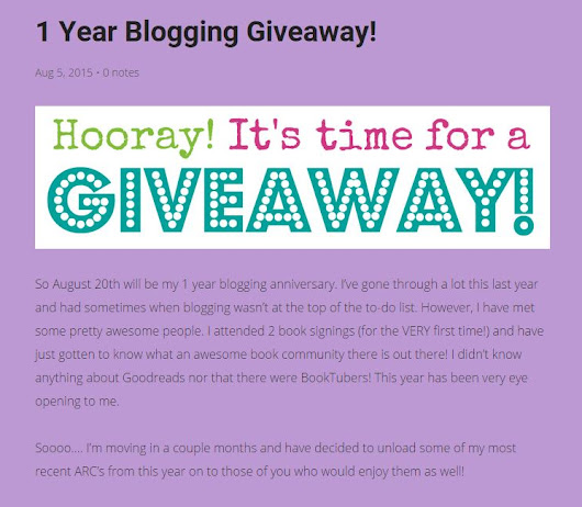 1 Year Blogging Giveaway!