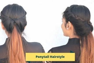 Easy Flipped Braided Ponytail Hairstyle For Medium Hair /Self Hairtsyle