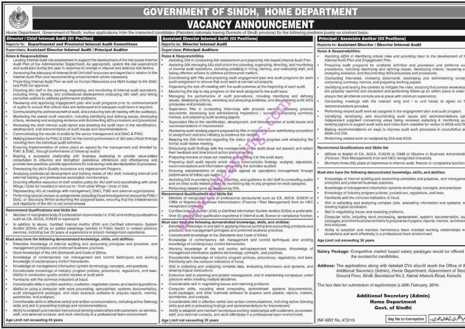 Govt of Sindh Home Department Jobs 2019 Vacancies Advertisement Latest job