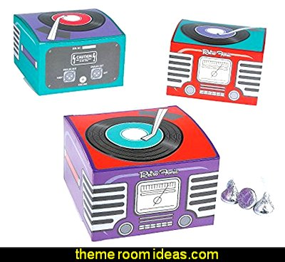 Rockin 50s Party Favor Boxes   50s party ideas - 50s party decorations - 1950s Theme Party - 1950's Rock and  Roll Themed Party Supplies - 50s Rock and Roll Theme Party - 50s party decorations - 50s party props - 50s diner party