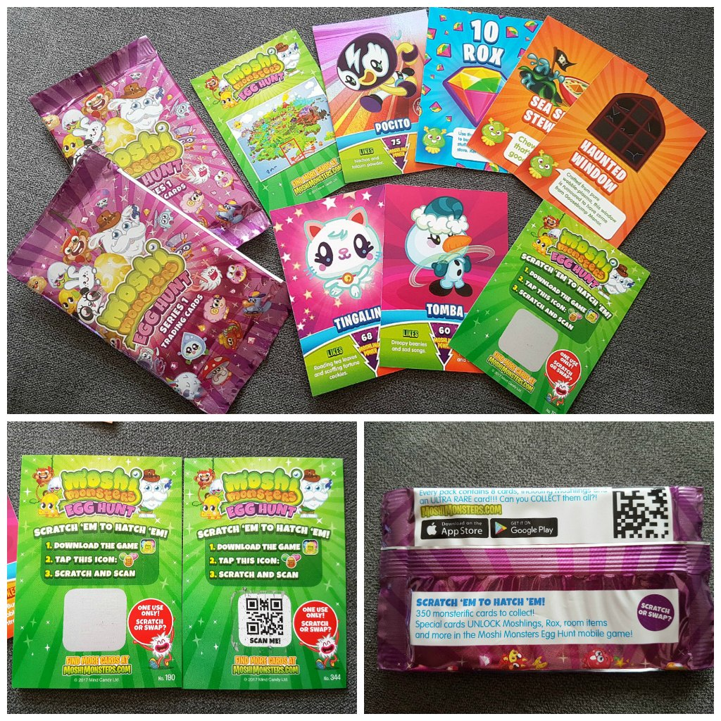 Moshi Monsters, Moshi Monsters Egg Hunt app game, Moshi Monsters collectible trading cards