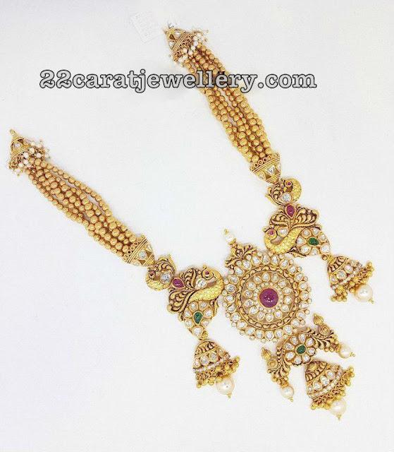 Gold Balls Chain Peacock Jhumka Pendant
