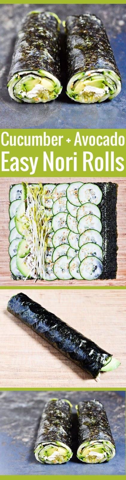 Nori Roll with Cucumber and Avocado Recipe #Nori #Roll #with #Cucumber #and #Avocado #Recipe #Nori# Roll #Cucumber #Avocado #Recipe #Healthy
