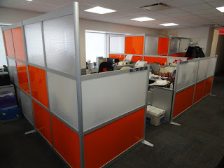 appealing orange white office cubicle decoration ideas and square skylights plus dark flooring